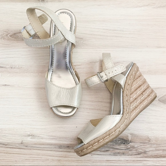 Marc Fisher Shoes - Marc Fisher Maiseey Silver Espadrille Wedge Sandal